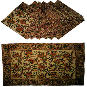 6+6=12 Pc Indian Cotton Table Mat Napkin Ethnic Boho Table Hippie Gypsy Dining