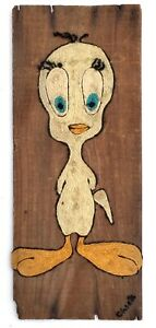 Vintage 1960s Tweety Bird Original American (MA) Yarn Art Painting Signed Chick