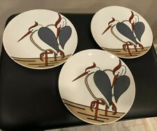 "Variations by Fitz and Floyd 1979 Set of 3 7.5"" Heron Bird Salad Dessert Plates"