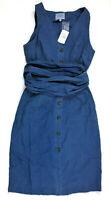 J.O.A. Sleeveless V Neck Button Down Chambray Midi Dress, Blue, Small