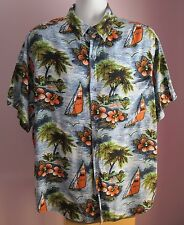 VTG Mens AVANTI Blue Coral Windsurfers/Floral Hawaiian Shortsleeve Shirt Size XL