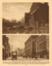 River Lea at Bow Bridge. Curtain Road, Shoreditch. Cabinet makers 1926 print