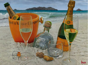 """Thomas Arvid """"Somewhere On A Beach"""" Wine Art Signed&Numbered on Canvas 40""""x 30"""""""