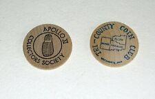 APOLLO 11 1974 & 1979 5th & 10th ANNIVERSARY COMMEMORATIVE WOODEN COINS
