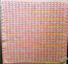 "Hand Made Crochet Baby Blanket,Car, Cot, Pram - Rainbow & White, Shell 26"" X 26"""