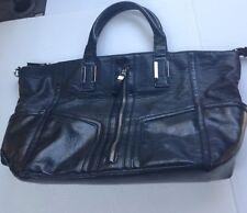 Deena & Ozzy Handbag Purse Bag Black Decoroitive Zipper Pockets Arm Handles