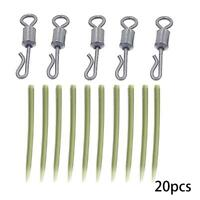 20pc Carp Fishing End Tackle lead clips Quick Change swivels Anti Sleeves