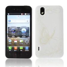 Case in PVC White with Butterflies for LG P970 Optimus Black