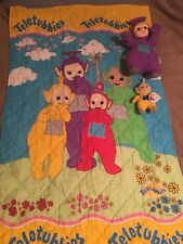 Teletubbies VINTAGE Toddler Bed Blanket Blankie  & Two Plush Teletubbies NWT