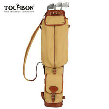 Tourbon Canvas & Leather Lightweight Vintage Soft Golf Training Club Carry Bags