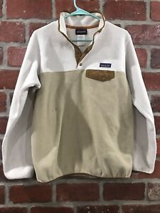Patagonia Beige Snap T Synchilla Pullover Womens Size Medium *DEFECTS AS IS*