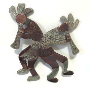 Kokopelli Wall Figure Copper Small Art Decoration Humpbacked Flute Twin Double