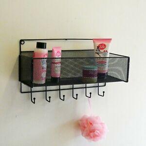 40cm Wall Storage Basket Shelf Hooks Bathroom Shelving Towel Hangers Black Metal