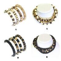 Set of 4 Coco Wood Bead Surfer Bracelet Wristband Necklace Chokers Elasticated