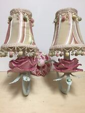 Pair Of Beautiful Ceramic Pink Roses & Butterflies Wall Sconce 2 Light