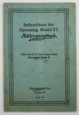 Addressograph Operating Maintenance Manual Model F2 Metal Plate Embosser 1925