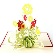 3D Pop Up DIY Greeting Card Sunflower Birthday Mother Father Day Xmas Graduation
