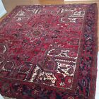 Hand Knotted Heriz Tribal Rug Wool Red Blue Taupe Oriental Carpet 7.5' X 9'