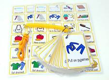 Morning & Bedtime Visual Routine Flash Cards Bungee Set - Special Needs Autism