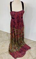Etro Floral Silk Mousseline Maxi Gown W Velvet Straps 44 Orig $7,895.00 Unworn