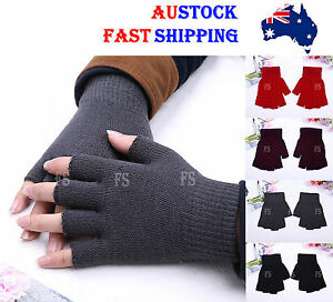 WOMEN MEN FASHION NEW HOT SELLING KNIT FASHION WINTER FINGERLESS  GLOVES *AUS*