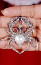 HAND-MADE ROSE CUT DIAMOND 2.00ct SILVER RUBY PEARL SPIDER BROACH