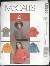 Girls Jacket Size 7 8 10 12 14 McCall's 5697 Pattern Uncut Unlined Button Front