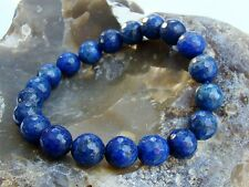 Men's Elasticated Bracelet all 10mm LAPIS LAZULI natural gemstone beads