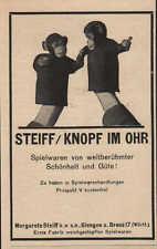 GIENGEN, Werbung 1924, Margarete Steiff GmbH Qualitäts-Spiel-Waren Knopf im Ohr