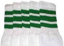 "22"" KNEE HIGH WHITE tube socks with GREEN stripes style 1 (22-22)"