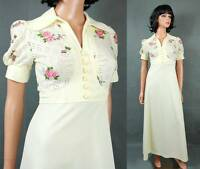 70s Maxi Dress XS Vintage Off White Pink Floral Hippie Wedding Gown Costume