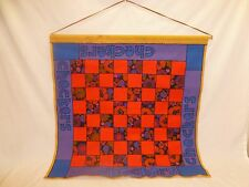 Vtg Retro 60s Mod Fabric Big Checkers Chess Game Wall Hanging Tapestry Art Decor