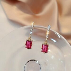 925 Silver Red Square Zircon Stud Earrings Dangle Charm Women Wedding Jewellery