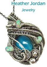 Chrysocolla Wire-Wrapped Necklace in Sterling Silver with Ethiopian Welo Opals