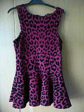 WOMENS RED & BLACK LEOPARD PRINT PLENUM TOP SIZE 8