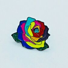Rainbow Flower LGBTQ  Enamel Pin Badges. UK Seller.