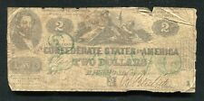 T-43 1862 $2 TWO DOLLARS CSA CONFEDERATE STATES OF AMERICA CURRENCY NOTE