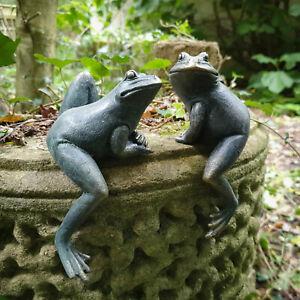 S/2 Shelf Sitting Resin Animal Climbing Frogs Garden Ornament Figurine Statues