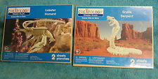 New-Lot of 2-Creatology Wooden Puzzle Snake & Lobster Die Cut Wood Model-Sealed