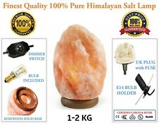 1-2 KG NATURAL HIMALAYAN ROCK SALT IONIZING HEALING LAMP WITH DIMMER CABLE& BULB