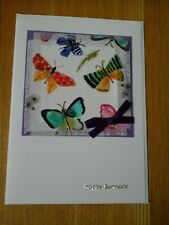 Butterfly Birthday card, handmade, fabric, butterfly, butterflies