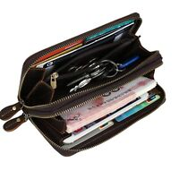 Dual Zip Mens Genuine Leather Clutch Handbag Purse Money Wallet Strap Phone Case