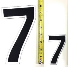 "4"" & 8"" NUMBER SEVEN PATCH SET - No. 7 BLACK & WHITE IRON OR SEW ON EMBROIDERED"