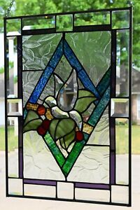 """'Beveled Dove"""" Stained Glass Window Panel  (20+ x 14+)"""