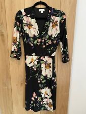 Monsoon black flower dress size 12 Only worn once!