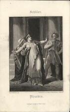 Stampa antica SCHILLER Phaedra Fedra mitologia 1860 Old antique print Alte stich