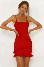 Womens Sexy Bodycon Mini Dress Ladies Ruffle Summer Halter Sun Dress Size 6-16