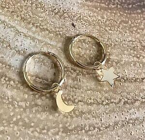 925 Sterling Silver Gold Moon Star Sleeper Hoop Earrings
