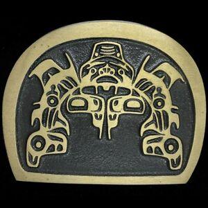 Pacific Northwest PNW Haida Tsimshian Shark Art Bronze HUGE Vintage Belt Buckle