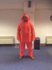 PVC Waterproof Unisex Jacket and Trousers Orange Size Large